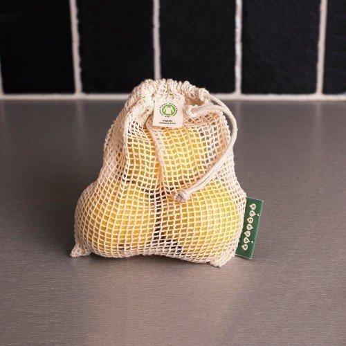 Frukt och grönsakspåse i ekologisk bomull med citron