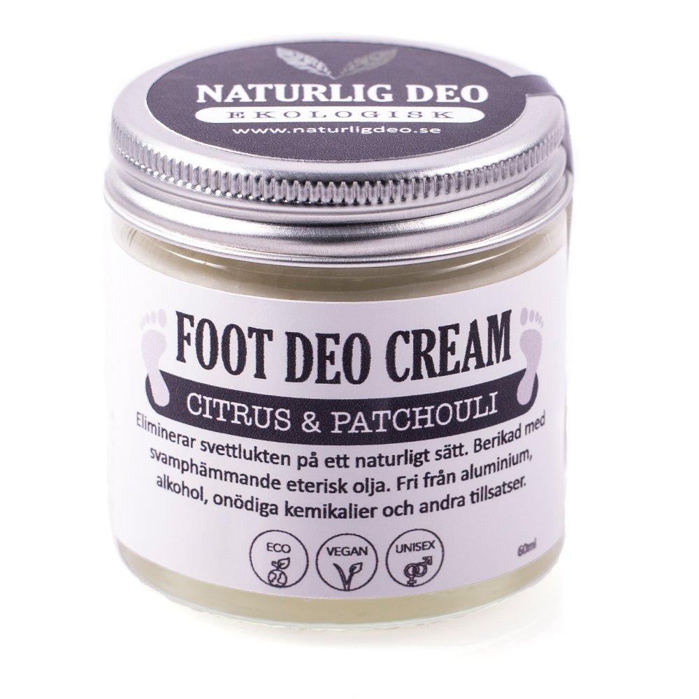 Foot deo cream, en mjukgörande och vårdande fotkräm som tar bort svettlukt.