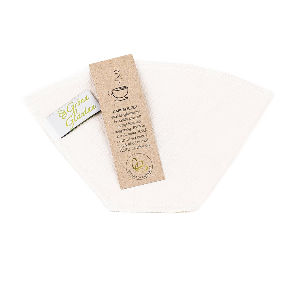 Kaffefilter i ekologiskt GOTS-certifierat bomullstyg