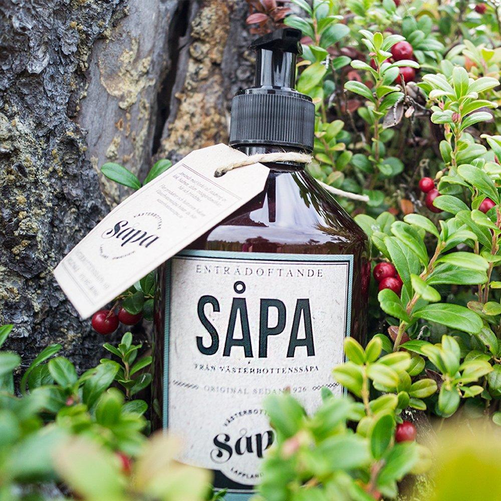 Enträsåpa 0.5 liter naturbild Västerbottenssåpa, flytande såpa, miljövänlig såpa