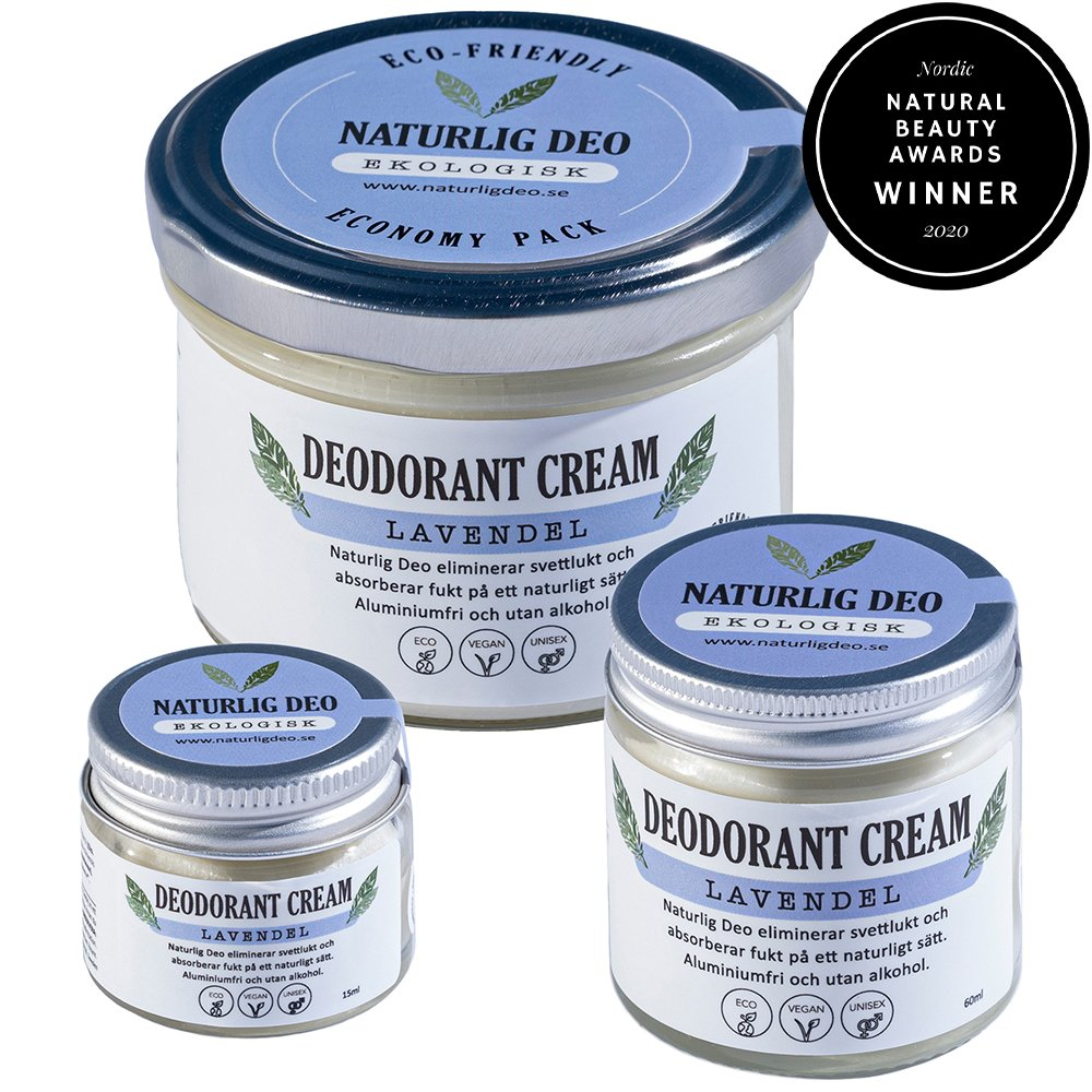 Naturlig Deo ekologisk deodorant cream Lavendel, 3 storlekar bästa deo 2020