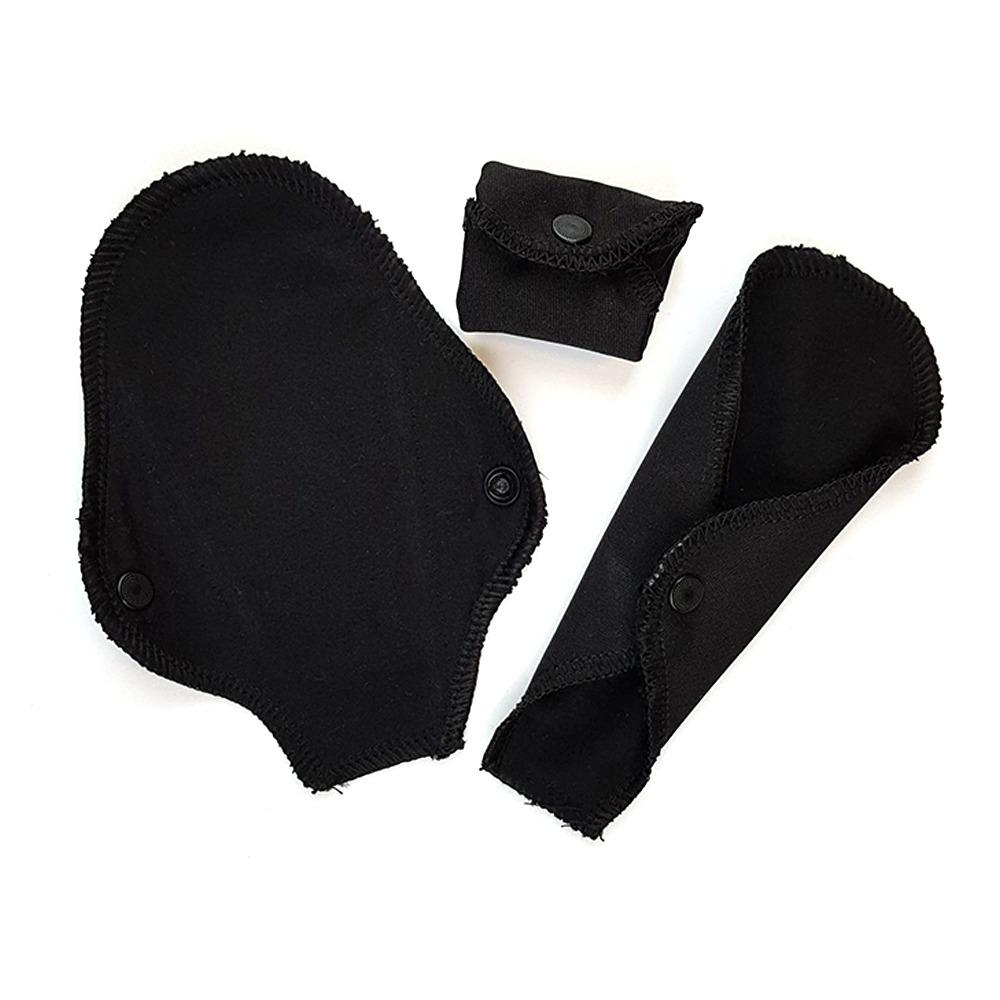 Ekologiska trosskydd för string, svart, 3 pack