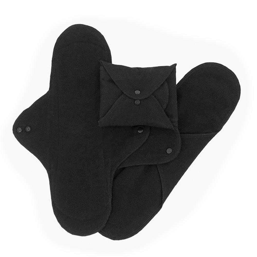 Ekologiska tygbindor, large natt - svart, 3 pack