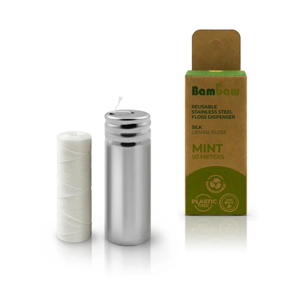 Miljövänlig tandtråd i behållare av rostfritt stål Silke – Bambaw