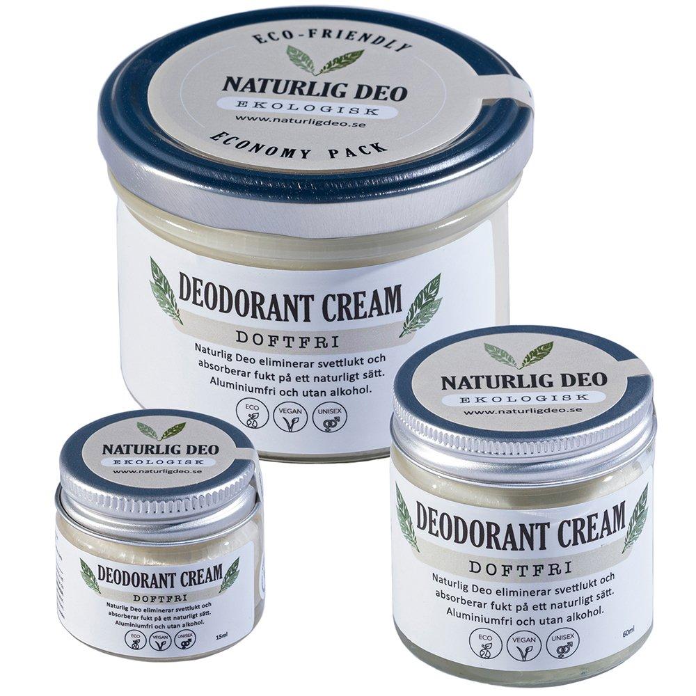 Naturlig Deo ekologisk deodorant cream Doftfri, 3 storlekar