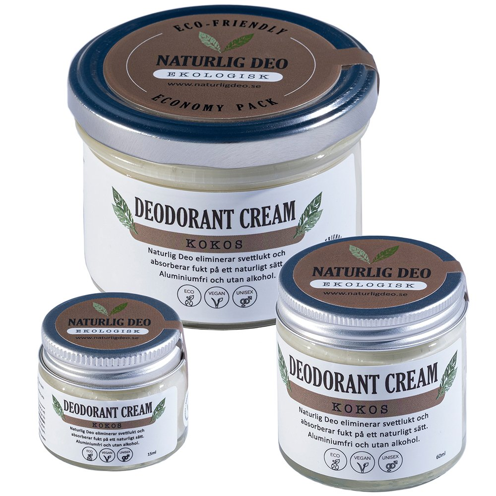 Naturlig Deo ekologisk deodorant cream Kokos, 3 storlekar