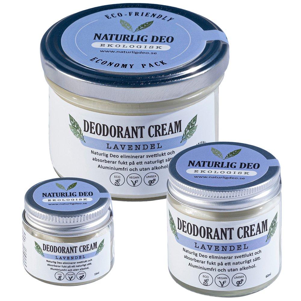 Naturlig Deo ekologisk deodorant cream Lavendel, 3 storlekar