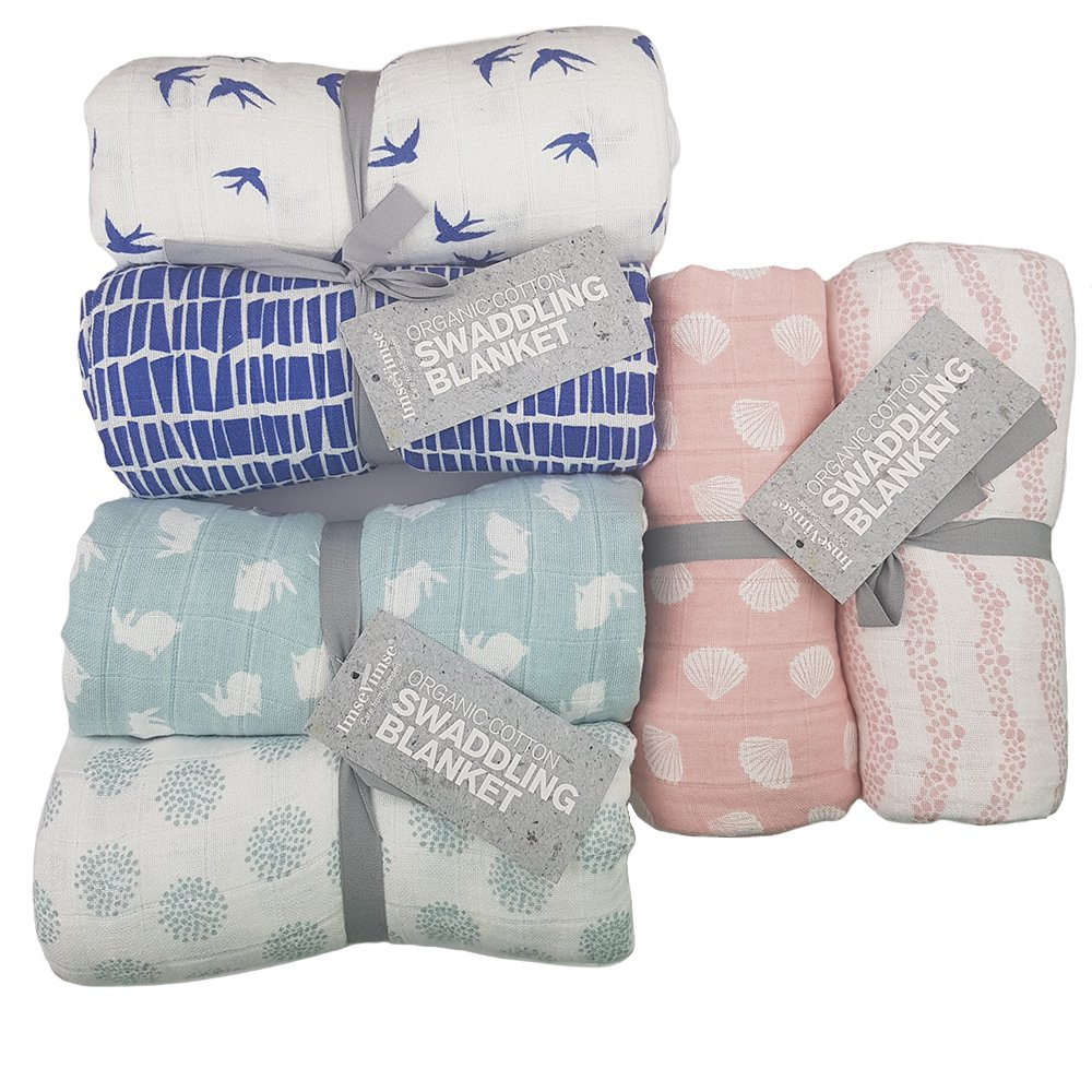 Babyfiltar av ekologisk bomull, 2 pack