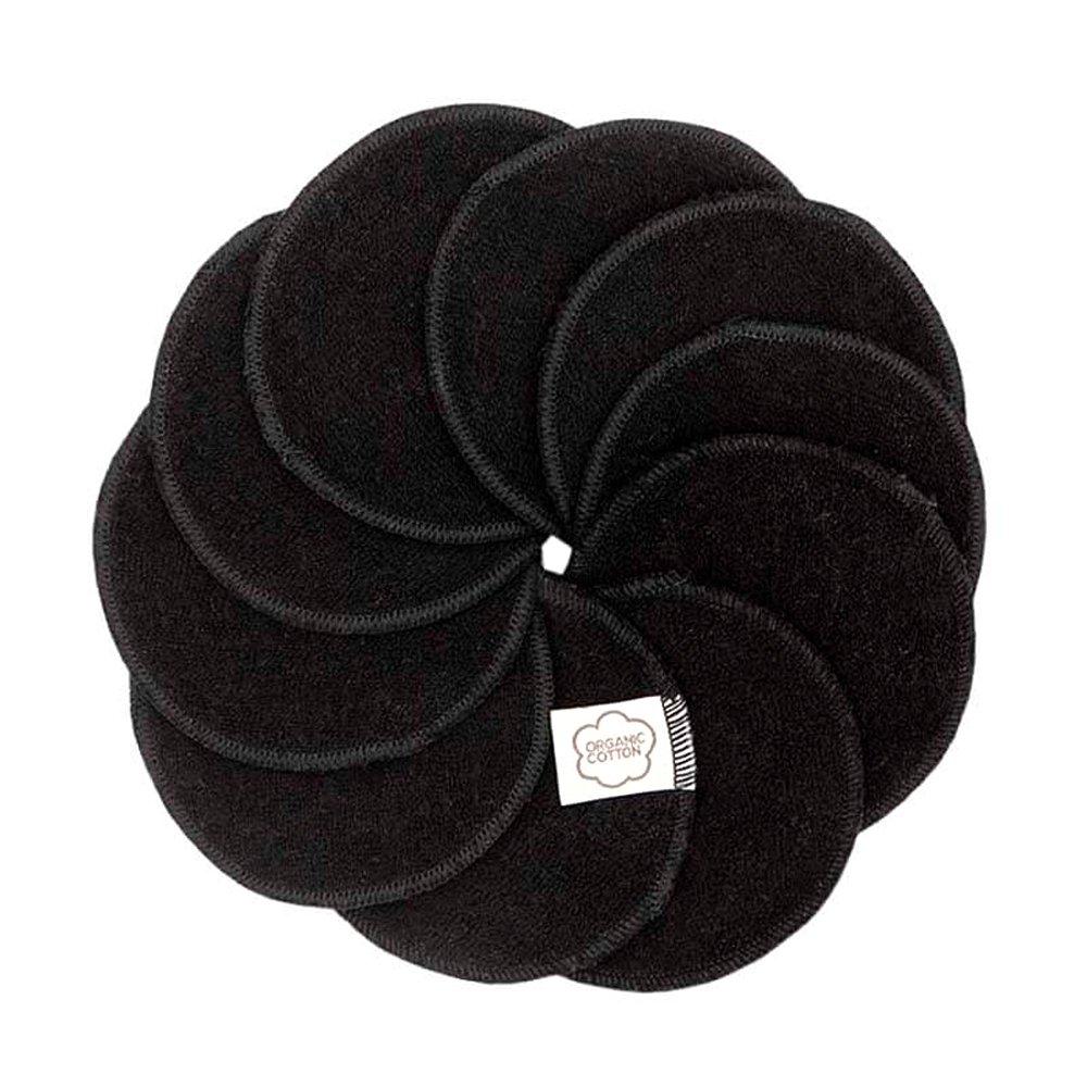 Rengöringspads i svart eko bomullsfrotté- 10pack