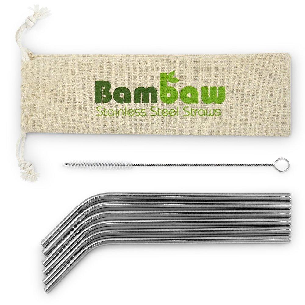 Sugrör i rostfritt stål, 6 pack - Bambaw