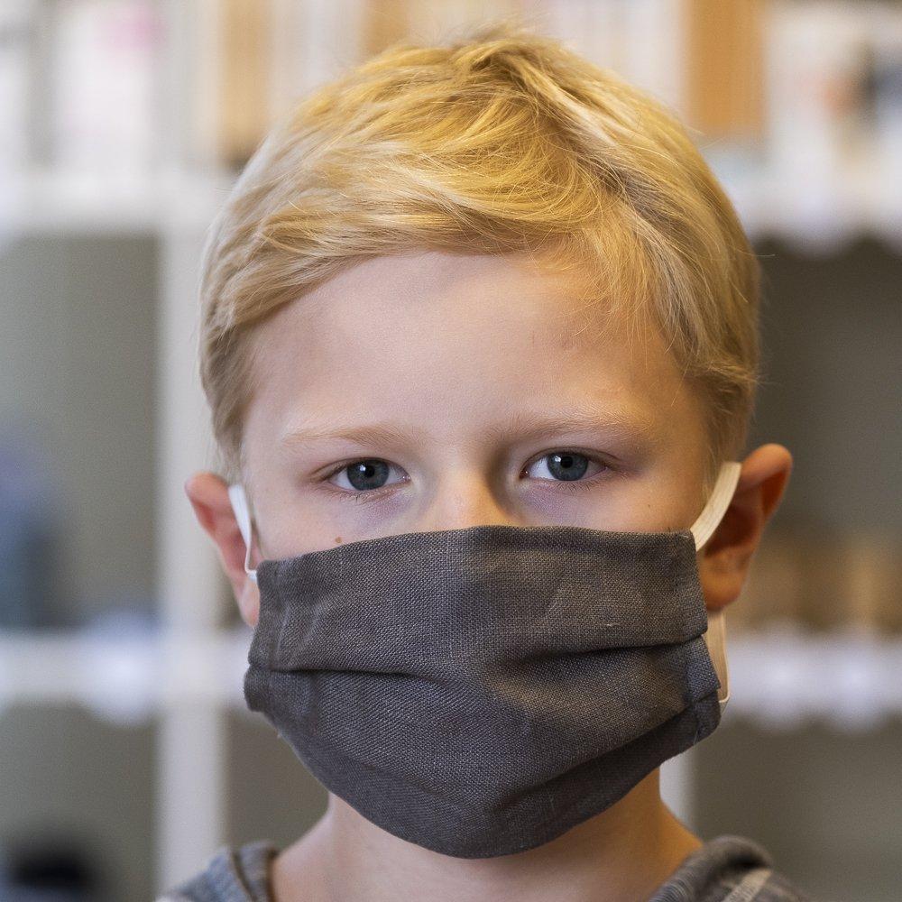 Tvättbart munskydd för Barn i linnetyg grå - Stella Sews