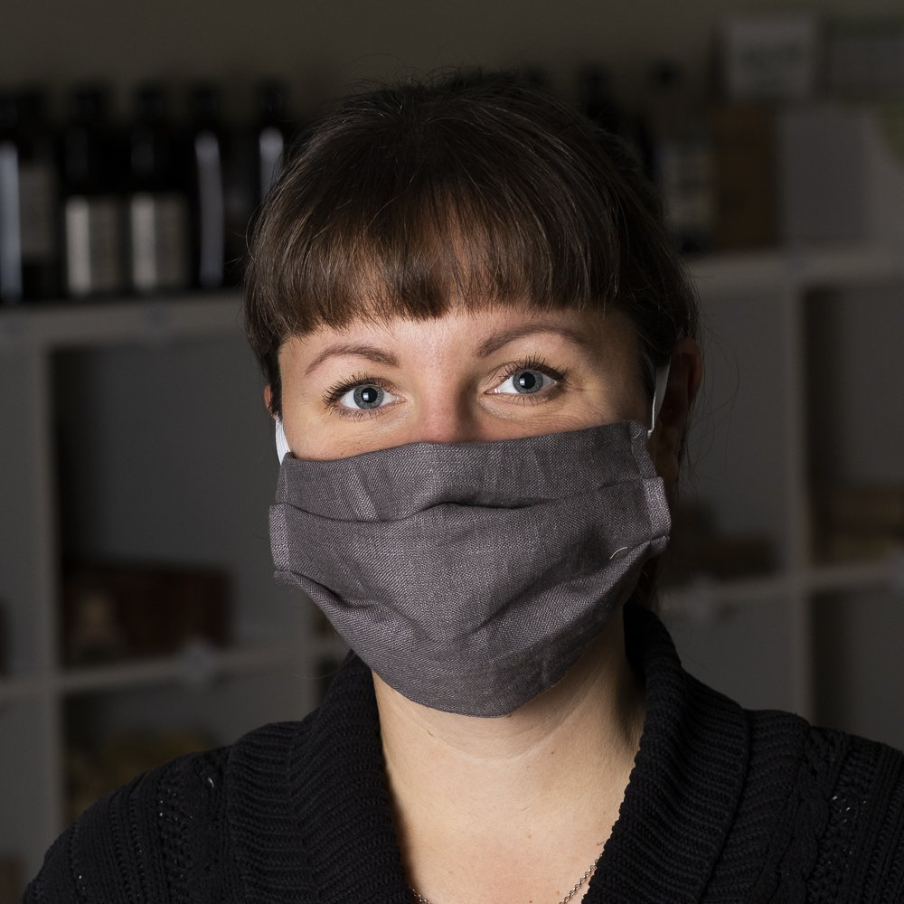tvättbart munskydd grå ansikte